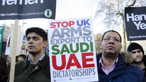 Demonstrators opposing Saudi Crown Prince Mohammad bin Salman's March 2018 visit to the UK protest in London.