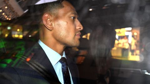 Folau is seen leaving his code of conduct hearing in Sydney in May.