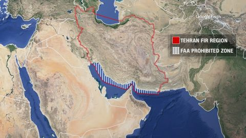 The FAA has directed US carriers not to fly above overwater parts of the Tehran FIR, or flight information region.