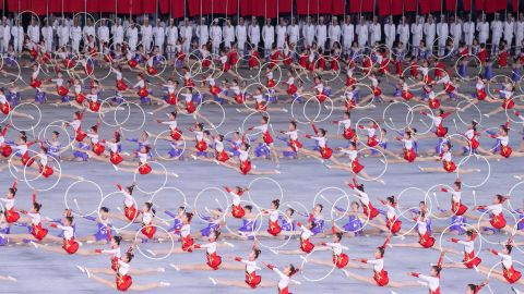 A large group callisthenics and art performance in Pyongyang for Xi Jinping and Kim Jong Un on June 20.