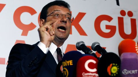 Ekrem Imamoglu of the opposition Republican People's Party speaks to his supporters on Sunday.