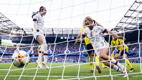 Horan, right, scored the opening goal against Sweden in the third minute. At left is US midfielder Rose Lavelle. The Americans didn't allow a goal in their three group matches, winning them by a combined score of 18-0.