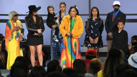 LOS ANGELES, CALIFORNIA - JUNE 23: Nipsey Hussle's family and girlfriend Lauren London accept the Humanitarian Award in honor of Nipsey Hussle onstage at the 2019 BET Awards on June 23, 2019 in Los Angeles, California. (Photo by Kevin Winter/Getty Images)