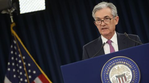 WASHINGTON, DC - MAY 01: Federal Reserve Board Chairman Jerome Powell speaks during a news conference on May 1, 2019 in Washington, DC. Powell said the Fed will not raise interest rates this quarter and no rate hikes are likely anytime soon.  (Photo by Mark Wilson/Getty Images)