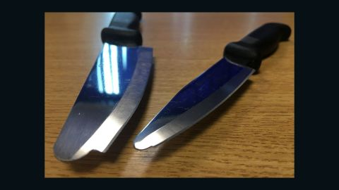The knives issued to domestic violence victims by Nottinghamshire Police.