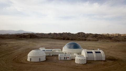 This aerial photo taken on April 17, 2019 shows a Mars base simulator in the Gobi desert, some 40 km from Jinchang in China's northwest Gansu province.