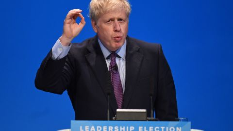 Conservative MP Boris Johnson speaks to the audience as he takes part in a Conservative Party leadership hustings event in Birmingham, central England on June 22, 2019. - Britain's leadership contest starts a month-long nationwide tour on Saturday as Boris Johnson and Jeremy Hunt reach out to grassroots Conservatives in their bid to become prime minister. (Photo by Oli SCARFF / AFP)        (Photo credit should read OLI SCARFF/AFP/Getty Images)
