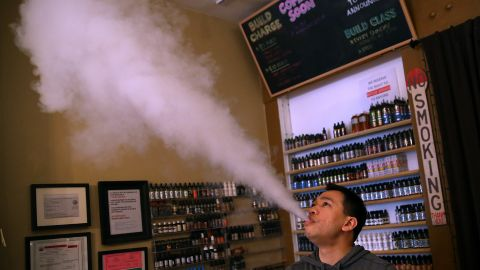 SAN FRANCISCO, CA - MAY 05:  Christopher Chin blows vapor from an e-cigarette at Gone With the Smoke Vapor Lounge on May 5, 2016 in San Francisco, California. The U.S. Food and Drug Administration announced new federal regulations on electronic cigarettes that will be the same as traditional tobacco cigarettes and chewing tobacco.  (Photo by Justin Sullivan/Getty Images)