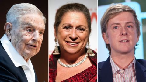 LEFT: Hungarian-born US investor and philanthropist George Soros talks to the audience after receiving the Schumpeter Award 2019 in Vienna, Austria on June 21, 2019.   CENTER:  NEW YORK, NY - NOVEMBER 01:  Honoree Abigail Disney attends the 2018 Women's Media Awards at Capitale on November 1, 2018 in New York City.   RIGHT: Chris Hughes, an original founder of Facebook and Executive Director of Jumo, speaks during the TechCrunch Disrupt conference in New York, on Wednesday, May 26, 2010. (Photo by Ramin Talaie/Corbis via Getty Images)