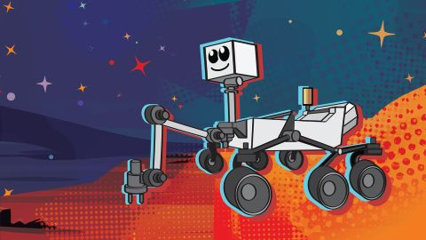 An adorable new ilustration of the Mars 2020 rover.
