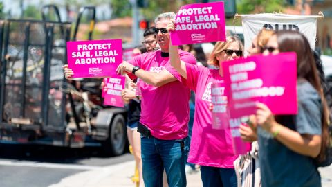 IRVINE, CA - JUNE 19: Protestors hold signs during Stop the Bans Speak Out Tour at the corner of Culver Drive and Alton Parkway in Irvine, CA on Wednesday, June 19, 2019. The pro-choice rally was part of a week of protests in San Bernardino and Orange counties against recent abortion bans and stricter laws nationwide. Similar lunchtime rallies will be held Thursday in Brea and Friday in Huntington Beach. (Photo by Paul Bersebach/MediaNews Group/Orange County Register via Getty Images)