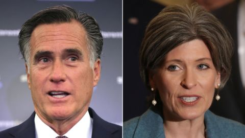 Republican Sens. Mitt Romney of Utah (at left) and Joni Ernst of Iowa (at right)