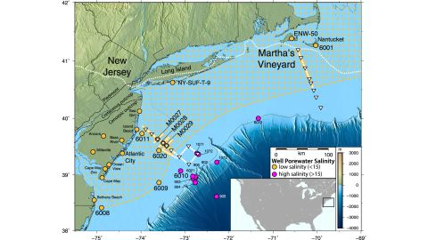 The freshwater aquifer runs from coastal New Jersey up to the waters around Massachusetts.