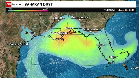 Dust from the Sahara Desert concentrates Tuesday over the Gulf of Mexico and Southeast US.