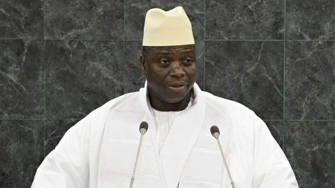 Jammeh speaks at the 68th session of the United Nations General Assembly on September 24, 2013 in New York City.