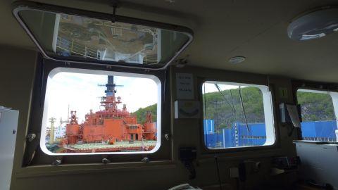 View outside of Akademik Lomonosov's main deck.