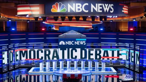 TOPSHOT - The stage is seen prior to the first Democratic primary debate of the 2020 presidential campaign season at the Adrienne Arsht Center for the Performing Arts in Miami, Florida, June 26, 2019. - Democrats are in Miami, Florida for their first debate -- and first inflection point -- of the 2020 election cycle, with ex-vice president Joe Biden taking the stage as frontrunner for the first time. Ten candidates including Senator Elizabeth Warren square off Wednesday, while Thursday's 10 feature Biden and three others polling in the top five. (Photo by SAUL LOEB / AFP)        (Photo credit should read SAUL LOEB/AFP/Getty Images)