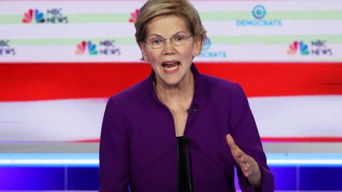 MIAMI, FLORIDA - JUNE 26: Sen. Elizabeth Warren (D-MA) speaks during the first night of the Democratic presidential debate on June 26, 2019 in Miami, Florida.  A field of 20 Democratic presidential candidates was split into two groups of 10 for the first debate of the 2020 election, taking place over two nights at Knight Concert Hall of the Adrienne Arsht Center for the Performing Arts of Miami-Dade County, hosted by NBC News, MSNBC, and Telemundo. (Photo by Joe Raedle/Getty Images)