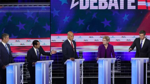 """Castro, second from left, clashed with fellow presidential candidate Beto O'Rourke, right, early in the June Democratic debates. <a href=""""https://www.cnn.com/politics/live-news/democratic-debate-june-26-2019/h_4a681c71f5752541619b6cfa3eed4a88"""" target=""""_blank"""">Castro's goal was to poke holes in O'Rourke on immigration</a> — an issue that he has used at the center of his political identity. Both candidates are from Texas. O'Rourke is a former congressman from El Paso."""