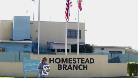 Josh Rubin demonstrates in front of the Homestead shelter in February.