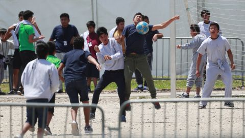 Children play soccer at the Homestead shelter for unaccompanied minors.
