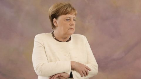 German Chancellor Angela Merkel attends a ceremony where the country's new Justice Minister was given her certificate of appointment by the German President at the presidential Bellevue Palace in Berlin on June 27, 2019. - During the ceremony, Merkel suffered a new shaking spell, just one week after sparking concerns by visibly trembling at another official ceremony. (Photo by Kay Nietfeld / dpa / AFP) / Germany OUT        (Photo credit should read KAY NIETFELD/AFP/Getty Images)