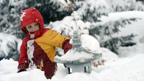 Max Rizk, 6, takes advantage of a snow day in Utah last February.