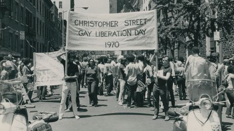 Demonstrators rally during the first Gay Liberation Day march in New York on the first anniversary of the Stonewall riots in 1970.