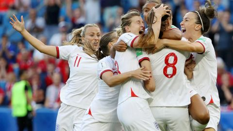 England's players celebate reaching the semifinals.