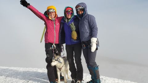 Loki joins owner Elizabeth Briggs, McKenzie Johnson and Mel Olson at the top of Mount Rainier, making Loki the first medical service dog to complete the feat.
