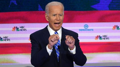 Democratic presidential hopefuls former US Vice President Joseph R. Biden Jr. speaks during the second Democratic primary debate of the 2020 presidential campaign season hosted by NBC News at the Adrienne Arsht Center for the Performing Arts in Miami, Florida, June 27, 2019. (Photo by SAUL LOEB / AFP)        (Photo credit should read SAUL LOEB/AFP/Getty Images)