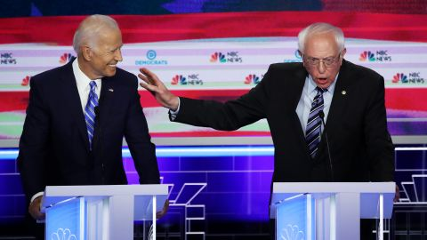 Sanders speaks next to former Vice President Joe Biden at the first Democratic debates in June 2019.