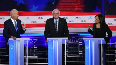Democratic presidential hopefuls US Vice President Joseph R. Biden (L), US Senator for Vermont Bernie Sanders and US Senator for California Kamala Harris (R) participate in the second Democratic primary debate of the 2020 presidential campaign season hosted by NBC News at the Adrienne Arsht Center for the Performing Arts in Miami, Florida, June 27, 2019. - US Senator for California Kamala Harris confronts Former US Vice President Joseph R. Biden about racism. (Photo by SAUL LOEB / AFP)        (Photo credit should read SAUL LOEB/AFP/Getty Images)