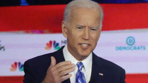 MIAMI, FLORIDA - JUNE 27: Democratic presidential candidates former Vice President Joe Biden (L) and Sen. Bernie Sanders (I-VT) take part in the second night of the first Democratic presidential debate on June 27, 2019 in Miami, Florida.  A field of 20 Democratic presidential candidates was split into two groups of 10 for the first debate of the 2020 election, taking place over two nights at Knight Concert Hall of the Adrienne Arsht Center for the Performing Arts of Miami-Dade County, hosted by NBC News, MSNBC, and Telemundo. (Photo by Drew Angerer/Getty Images)