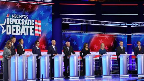 MIAMI, FLORIDA - JUNE 27: Democratic presidential candidates take part in the second night of the first Democratic presidential debate on June 27, 2019 in Miami, Florida. (Photo by Drew Angerer/Getty Images)