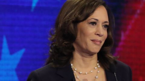 MIAMI, FLORIDA - JUNE 27: Democratic presidential candidates Sen. Bernie Sanders (I-VT) and Sen. Kamala Harris (D-CA) take part in the second night of the first Democratic presidential debate on June 27, 2019 in Miami, Florida.  A field of 20 Democratic presidential candidates was split into two groups of 10 for the first debate of the 2020 election, taking place over two nights at Knight Concert Hall of the Adrienne Arsht Center for the Performing Arts of Miami-Dade County, hosted by NBC News, MSNBC, and Telemundo. (Photo by Drew Angerer/Getty Images)
