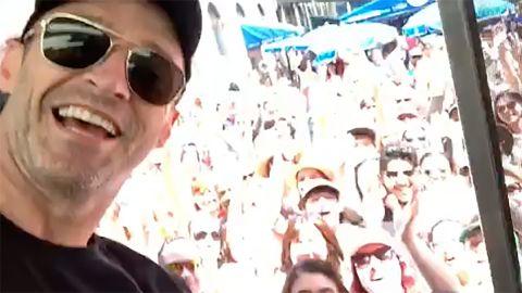 Actor Hugh Jackman surprises fans with a cup of Joe Thursday in Boston.