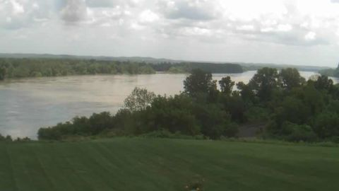 This image, taken from a web camera Friday afternoon, shows the Missouri River near Dundee, Missouri.