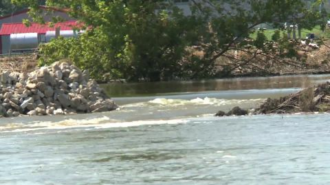 Water rushes down the Missouri River. If it rushes too quickly, it could knock out levees, said Eileen Williamson of the US Army Corps of Engineers.