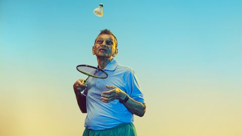 Kamal Chaudhari, 84, competed in badminton at the National Senior Games. He also plays the sport against students at the University of South Florida.