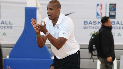 Masai Ujiri during the Basketball Without Borders Africa training at American International School
