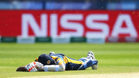 Suranga Lakmal of Sri Lanka lays down to avoid a swarm of bees at the Cricket World Cup match between Sri Lanka and South Africa.