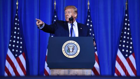 US President Donald Trump speaks during a press conference on the sidelines of the G20 Summit in Osaka on June 29, 2019. (Photo by Brendan Smialowski / AFP)        (Photo credit should read BRENDAN SMIALOWSKI/AFP/Getty Images)