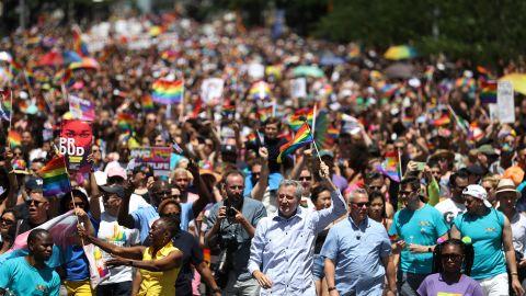 New York City Mayor Bill de Blasio participates in the march.