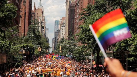 People march down 5th Avenue in Manhattan.