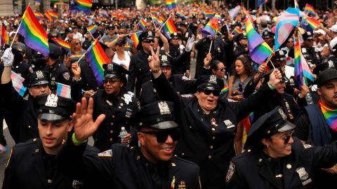 New York City Police officers participate in the parade.