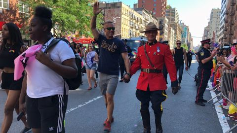 Members of law enforcement, including the Royal Canadian Mounted Police, marched in the WorldPride celebration.