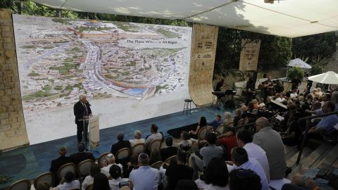 Friedman talks during the opening of Pilgrimage Road on Sunday.