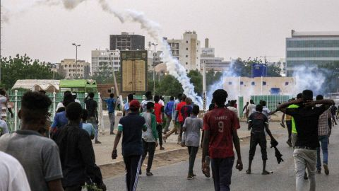 Tear gas fumes are seen amid a demonstration in Khartoum on June 30.