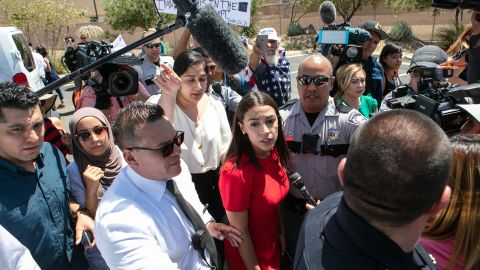Rep.  Alexandria Ocasio-Cortez (D-NY) is swarmed by  the media after touring the Clint, TX Border Patrol Facility housing  children on July 1, 2019 in Clint, Texas. Reports of inhumane conditions have plagued the facility where migrant children are being held. (Photo by Christ Chavez/Getty Images)